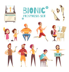 Bionic prothesis cartoon icons set vector