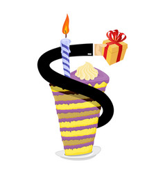 Birthday piece of cake and candle hand give gift vector