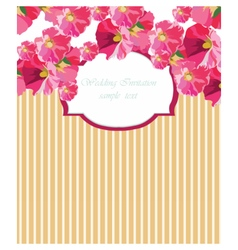 Card with watercolor geranium flower vector