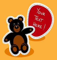 Cartoon-black-bear-with-sign vector