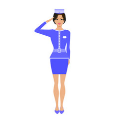 Cartoon stewardess girl in uniform vector