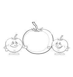 Character tomatoes and poster outline vector image vector image
