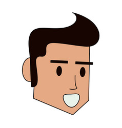 Color image cartoon side face man with hairstyle vector
