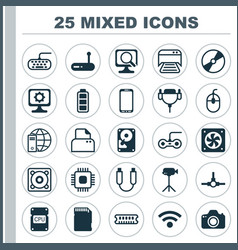 Computer icons set collection of accumulator sign vector