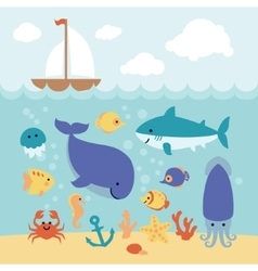Cute cartoon animals swimming under the sea and vector