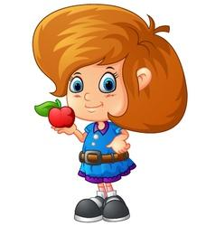 Cute girl holding apple vector