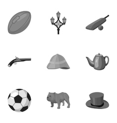 England country set icons in monochrome style Big vector image vector image