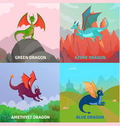 fantasy dragons design concept vector image