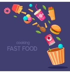 Fast Food Flying In Paper Bucket vector image