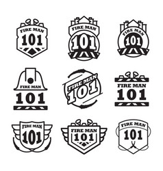 fire man emblem vintage logo design vector image
