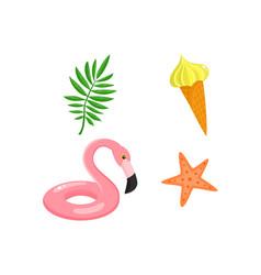 Flat summer symbols set isolated vector