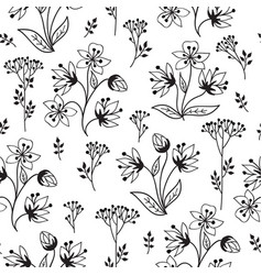 floral pattern with herb branch and leaves nature vector image