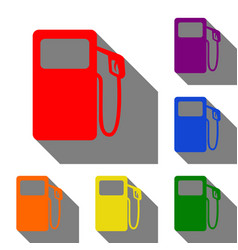 Gas pump sign set of red orange yellow green vector