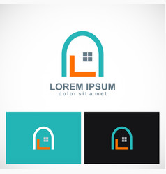 home design window logo vector image