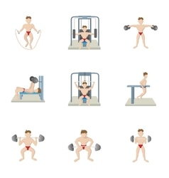 Lose weight at gym icons set cartoon style vector image