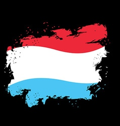 Luxembourg flag grunge style on black background vector image vector image