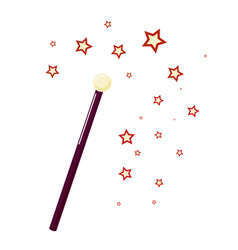 magic wand with small stars attribute magician vector image
