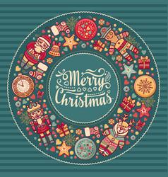 merry christmas wreath with christmas toys vector image