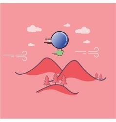 Mountain landscape outline art vector