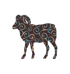 Ram farm mammal color silhouette animal vector