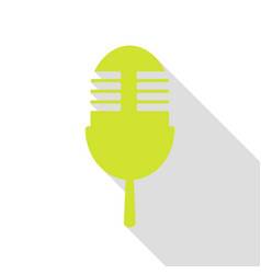 Retro microphone sign pear icon with flat style vector