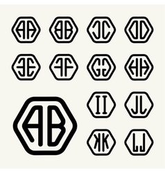 Set 1 create monograms two letters in a hexagon vector image vector image