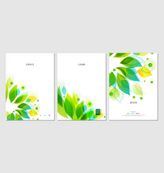set of business posters with abstract leaf vector image
