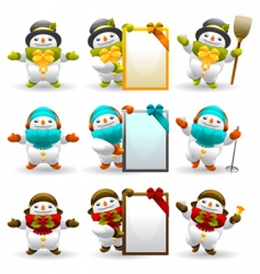 snowman character set vector image vector image