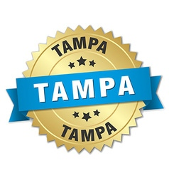 Tampa round golden badge with blue ribbon vector