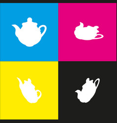 tea maker kitchen sign white icon with vector image vector image
