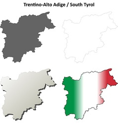 Trentino-alto adige blank outline map set vector