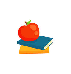 Two books and red apple cartoon vector