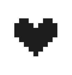 Valentine heart pixel monochrome vector