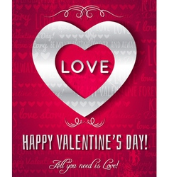 valentines day greeting card with silver text vector image