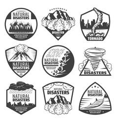 Vintage monochrome natural disaster labels set vector