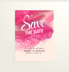 Wedding invitation card with pink watercolor vector