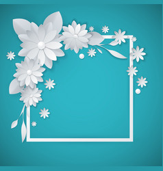 white paper flowers floral background vector image vector image