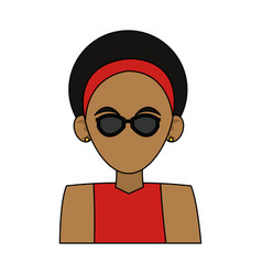 Woman with curly hair and headband dark skin vector
