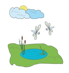 Dragonflies and pond vector