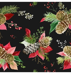 Vintage poinsettia flowers seamless background vector