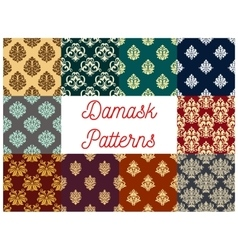 Damask floral ornament seamless patterns vector