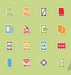smarthone specs simply icons vector image