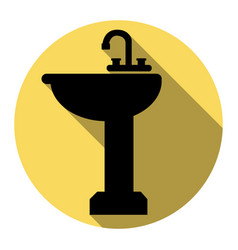 Bathroom sink sign flat black icon with vector