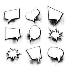 Collection blank comic text template speech bubble vector