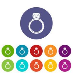 Wedding ring icons set flat vector