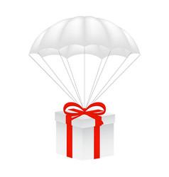gift box at white parachute vector image
