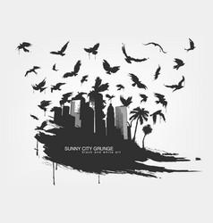 Black spot watercolors flying birds from city vector