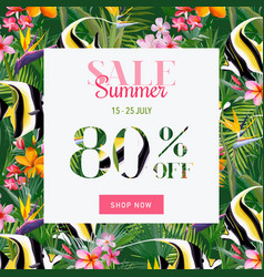 Summer sale tropical flowers and fish banner vector