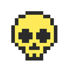 Pixel skull pixel art cartoon retro game style vector