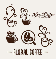 Floral coffee shop logo template natural abstract vector
